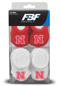 Nebraska Cornhuskers Baby 2pk Knit Bootie Boxed Set - Red
