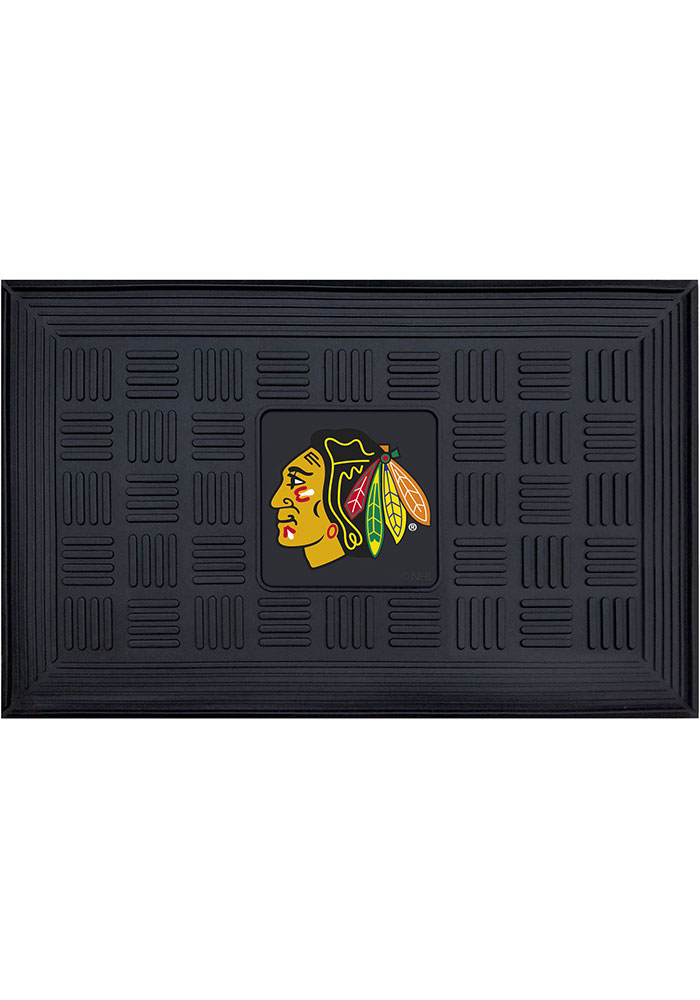 Chicago Blackhawks Black Vinyl Door Mat - Image 1