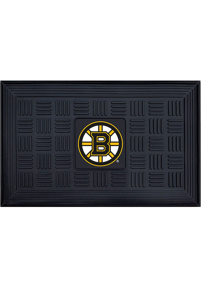 Boston Bruins Black Vinyl Door Mat - Image 1