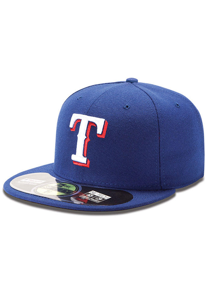 New Era Texas Rangers Mens Blue AC 5950 Fitted Hat - Image 1