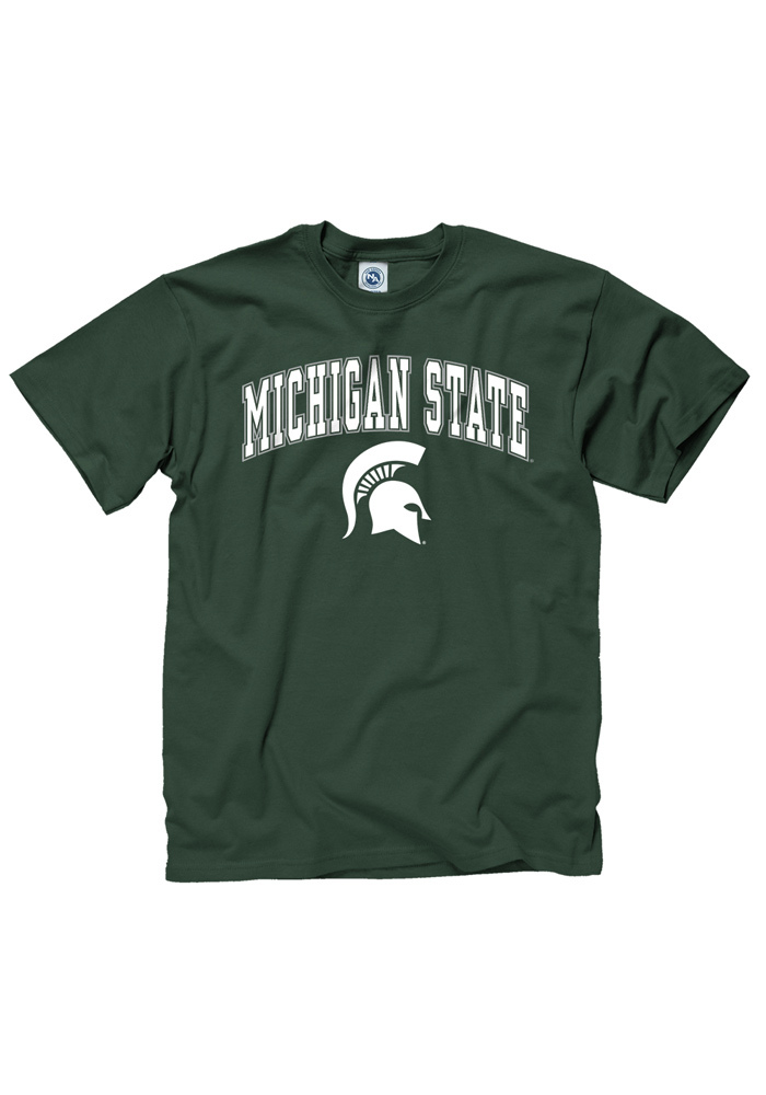 Michigan State Spartans Green Arch Mascot Short Sleeve T Shirt - Image 1