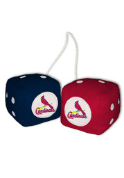 St Louis Cardinals Logo Fuzzy Dice - Red