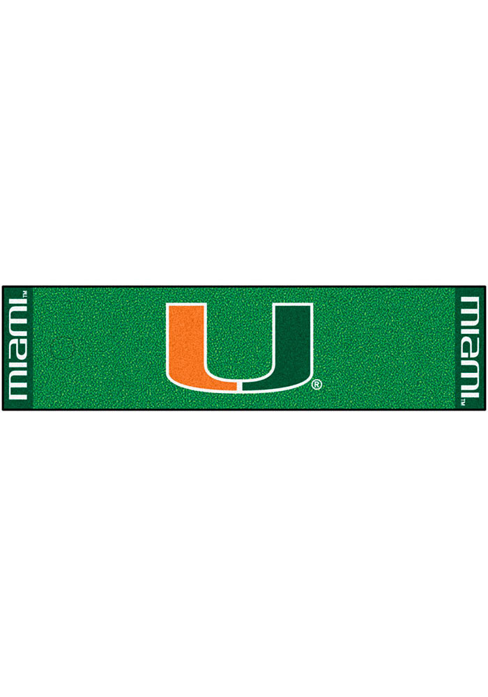 Miami Hurricanes 18x72 Putting Green Runner Interior Rug - Image 1