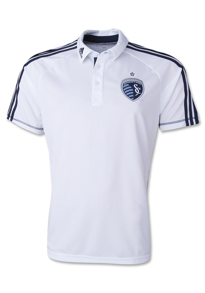 Adidas Sporting Kansas City Mens White Authentic Climalite Short Sleeve Polo - Image 1