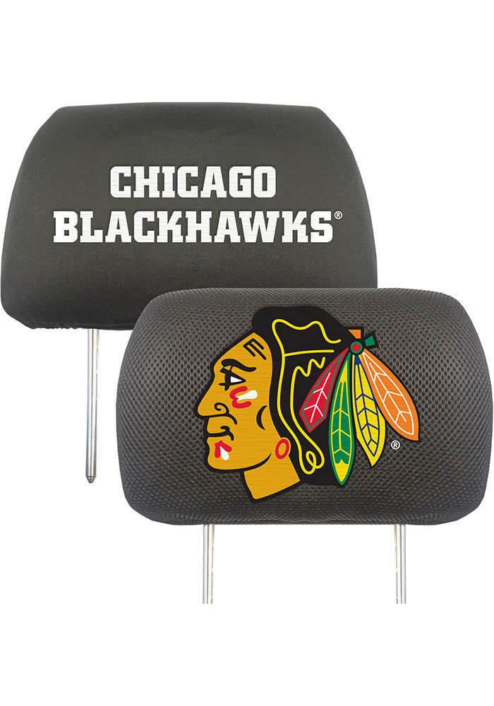 Sports Licensing Solutions Chicago Blackhawks 10x13 Head Rest Auto Head Rest Cover - Black - Image 1