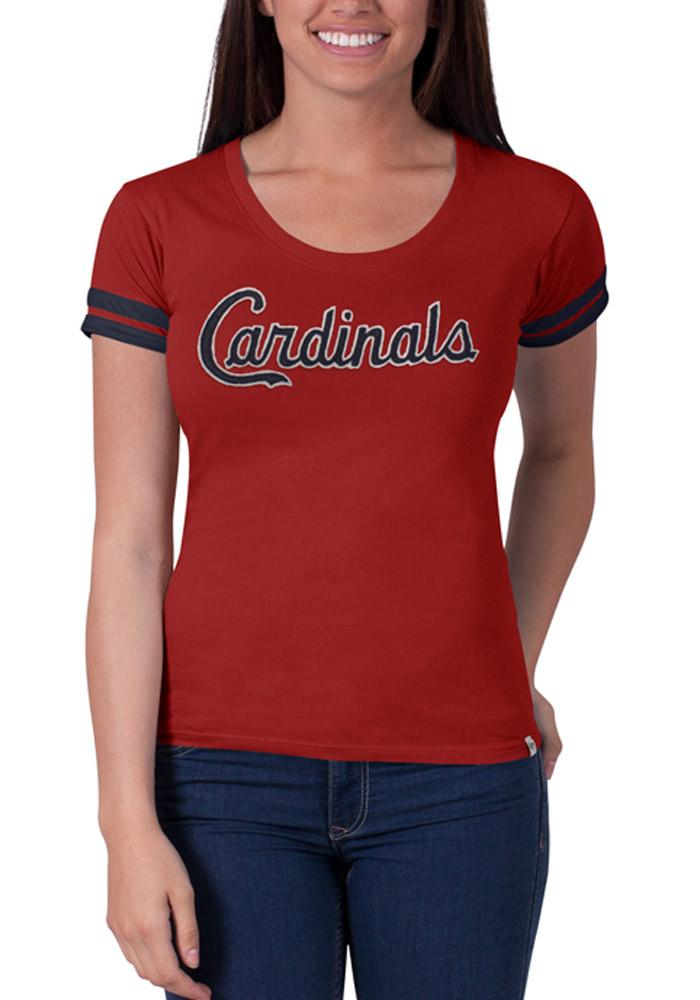 '47 St Louis Cardinals Womens Red Showtime Scoop Scoop T-Shirt - Image 1