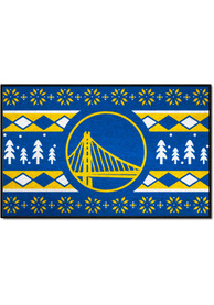 Golden State Warriors 19x30 Holiday Sweater Starter Interior Rug