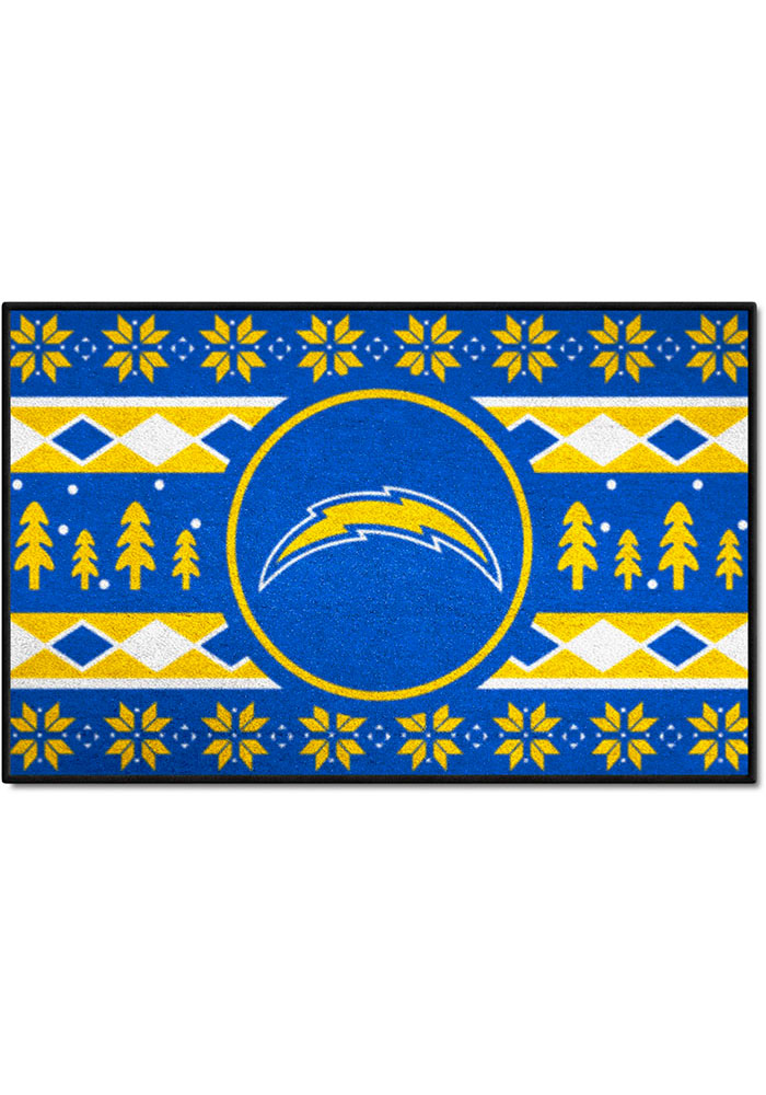 Los Angeles Chargers 19x30 Holiday Sweater Starter Interior Rug - Image 1