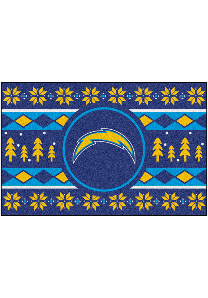 Los Angeles Chargers 19x30 Holiday Sweater Starter Interior Rug - Image 2