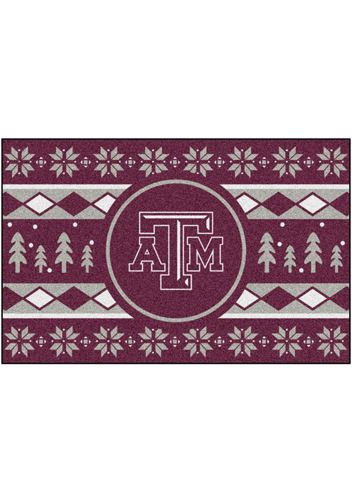 Texas A&M Aggies 19x30 Holiday Sweater Starter Interior Rug - Image 2