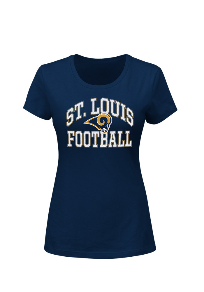 St Louis Rams Womens Navy Blue Franchise Fit Short Sleeve Crew T-Shirt - Image 1