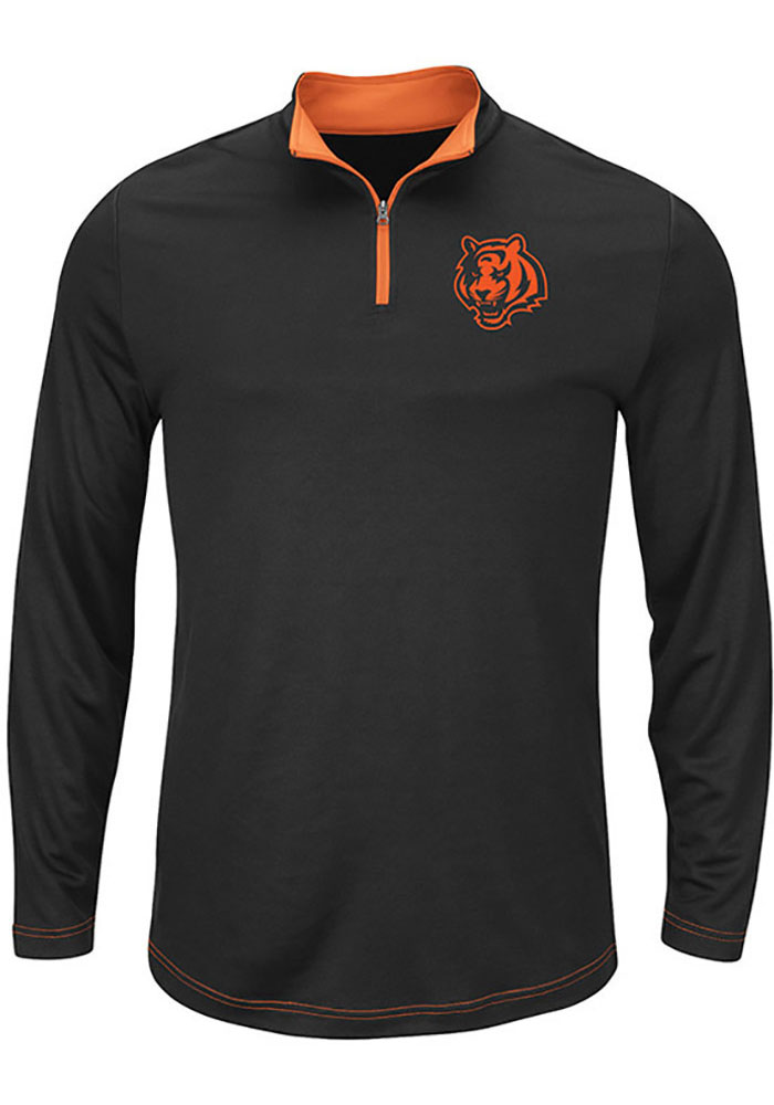 Majestic Cincinnati Bengals Mens Black Ready and Willing Long Sleeve 1/4 Zip Pullover - Image 1