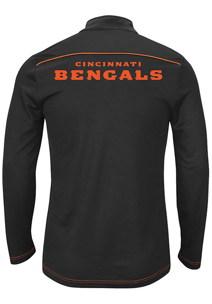 Majestic Cincinnati Bengals Mens Black Ready and Willing Long Sleeve 1/4 Zip Pullover - Image 2