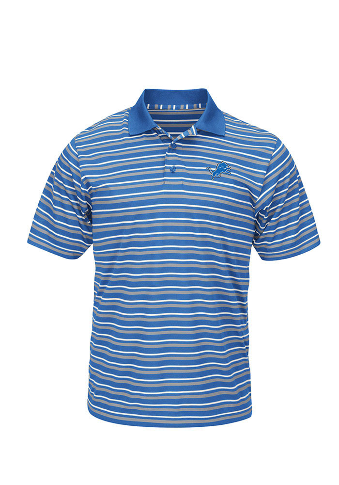 Detroit Lions Mens Blue Swift Attack Short Sleeve Polo - Image 1