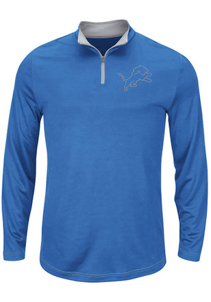 Detroit Lions Mens Blue Ready and Willing 1/4 Zip Pullover