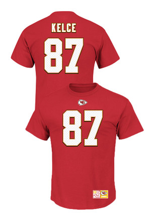 Travis Kelce Kansas City Chiefs Mens Red screen print Player Tee