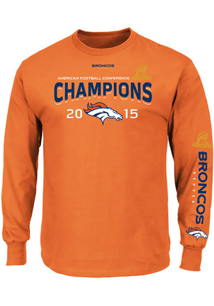 DEN Broncos Orange Conf Champs Advancing Win Long Sleeve Tee