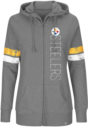 Pittsburgh Steelers Womens Grey Athletic Tradition Full Zip Jacket