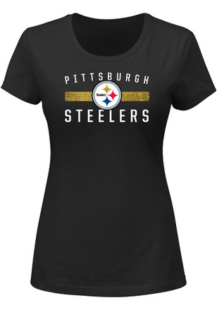 Pittsburgh Steelers Womens Franchise Fit Black T-Shirt