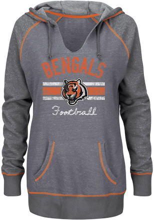 Cincinnati Bengals Womens Grey Buttonhook Hoodie
