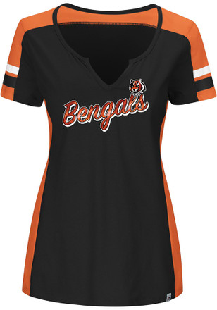 Cincinnati Bengals Womens Pride Playing Black Scoop T-Shirt