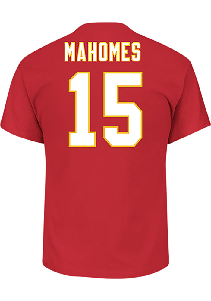 Patrick Mahomes Kansas City Chiefs Red Name and Number Short Sleeve Player T Shirt - Image 1