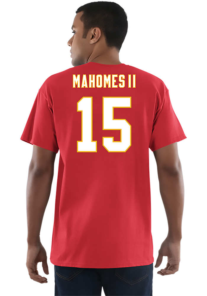 Patrick Mahomes Kansas City Chiefs Red Name and Number Short Sleeve Player T Shirt - Image 3