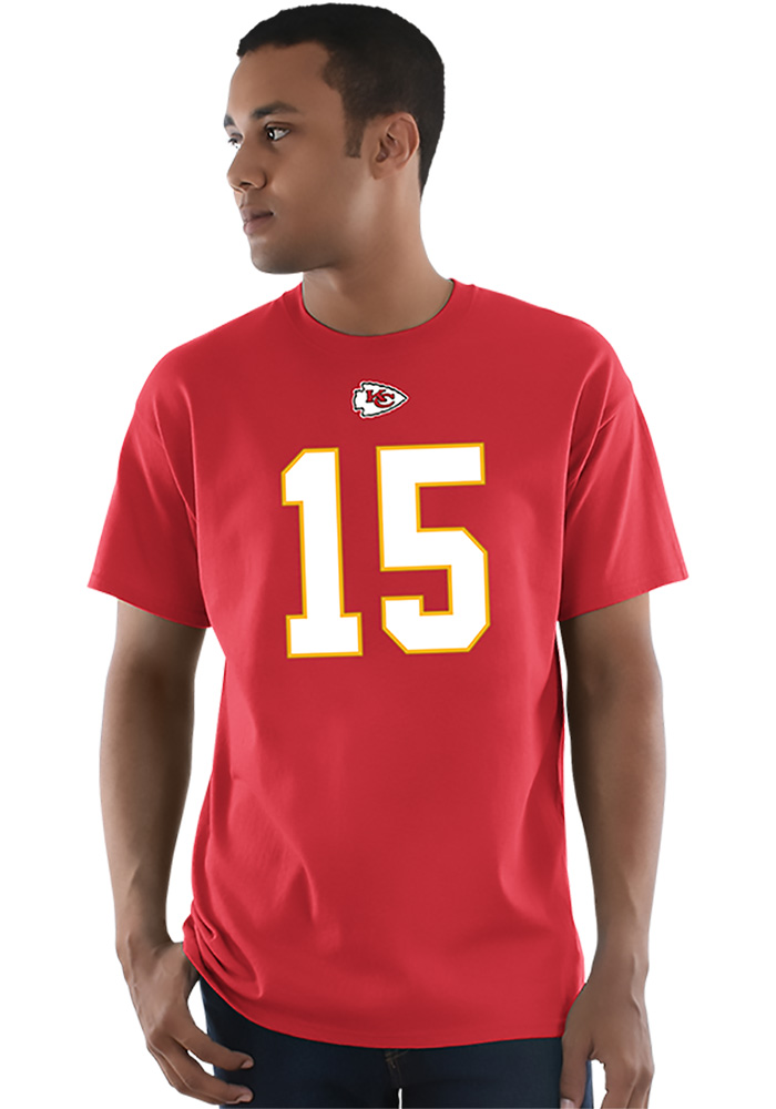 Patrick Mahomes Kansas City Chiefs Red Name and Number Short Sleeve Player T Shirt - Image 4