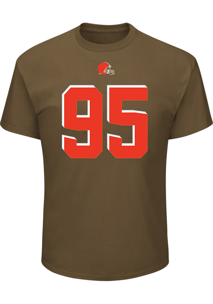 Myles Garrett Cleveland Browns Brown Name and Number Short Sleeve Player T Shirt - Image 2