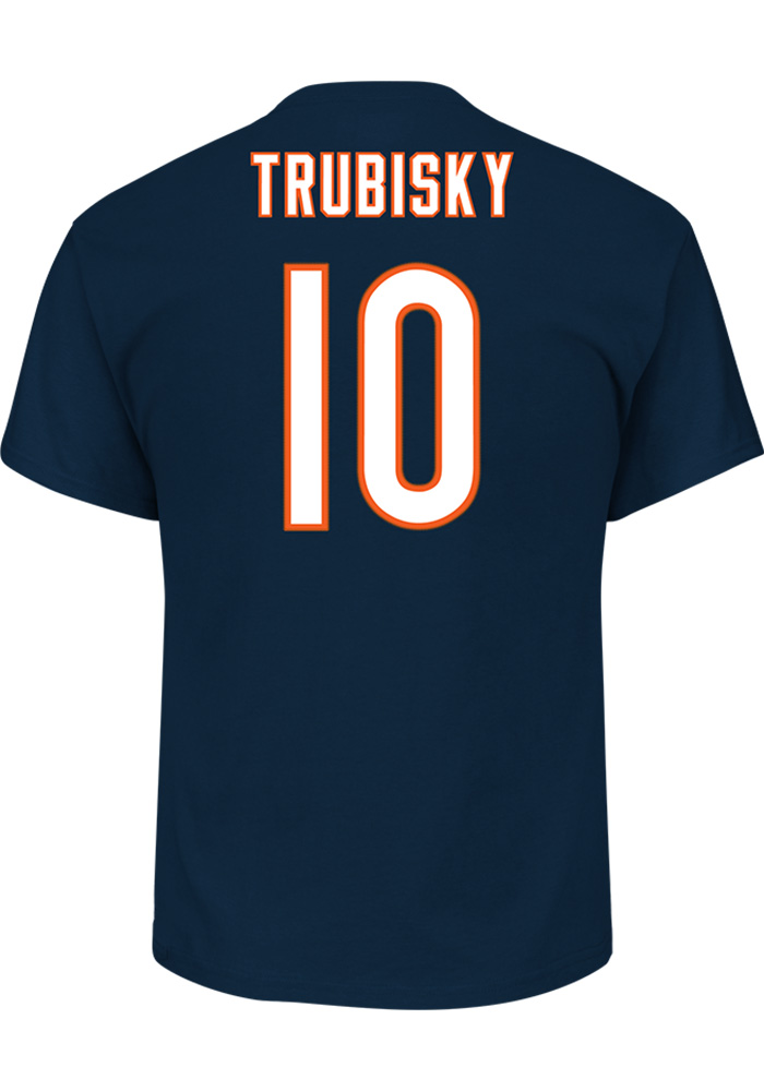 Mitch Trubisky Chicago Bears Navy Blue Name and Number Short Sleeve Player T Shirt - Image 1