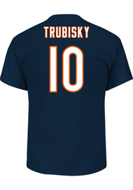 Mitch Trubisky Chicago Bears Navy Blue Name and Number Player Tee