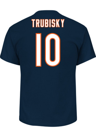Mitch Trubisky Chicago Bears Mens Navy Blue Name and Number Player Tee