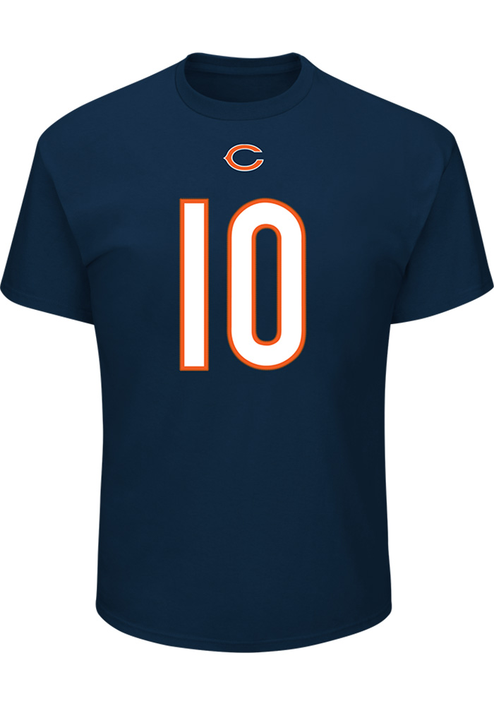 Mitch Trubisky Chicago Bears Navy Blue Name and Number Short Sleeve Player T Shirt - Image 2