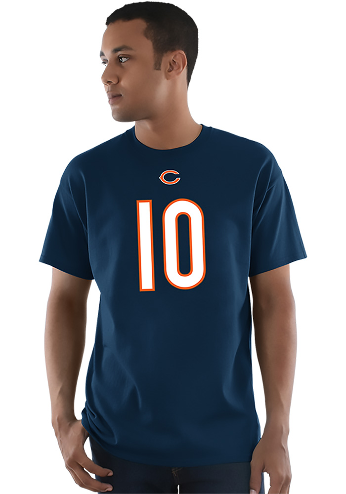 Mitch Trubisky Chicago Bears Navy Blue Name and Number Short Sleeve Player T Shirt - Image 3