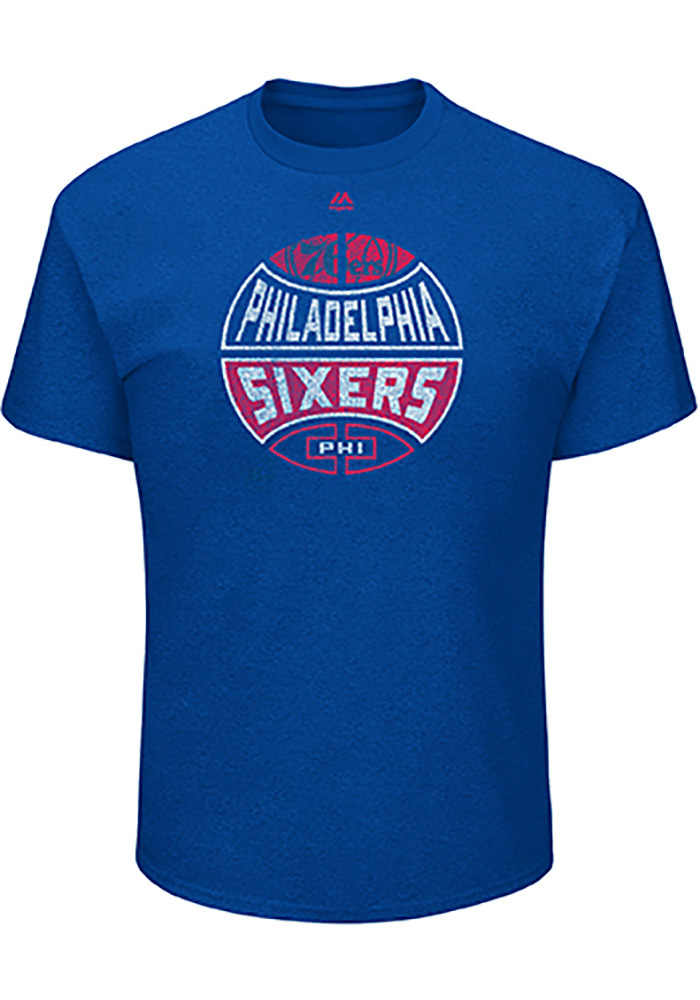 Majestic Philadelphia 76ers Mens Blue Every Minute Counts Short Sleeve T Shirt - Image 1