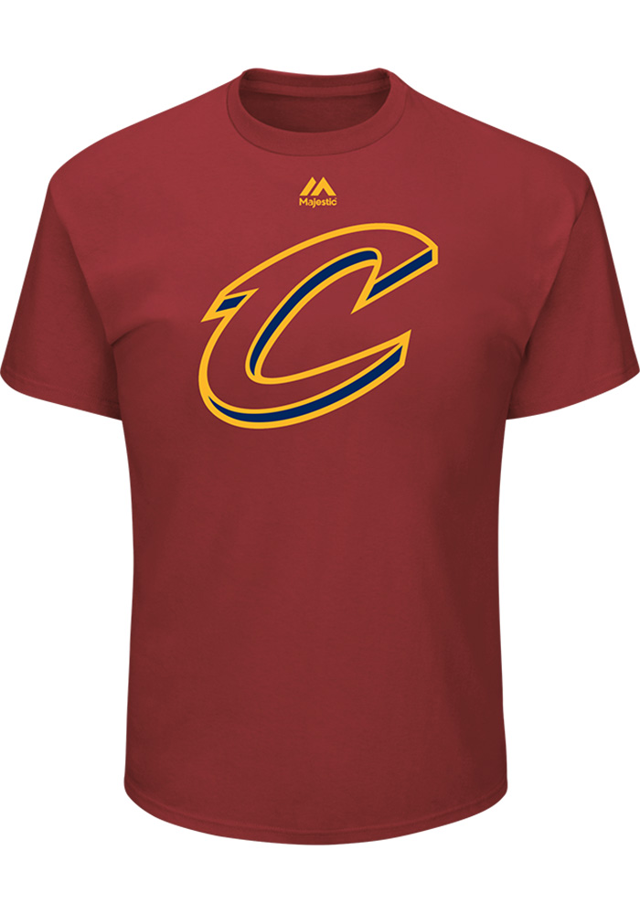 Majestic Cleveland Cavaliers Red Team Logo Short Sleeve T Shirt - Image 1