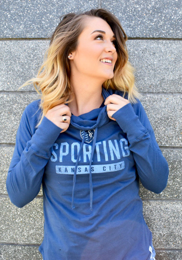 Sporting Kansas City Womens Navy Blue Be A Pro Crew Sweatshirt - Image 3