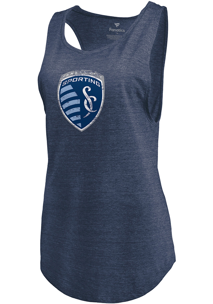 Sporting Kansas City Womens Navy Blue Weathered Official Logo Tank Top - Image 1