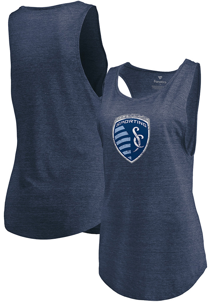 Sporting Kansas City Womens Navy Blue Weathered Official Logo Tank Top - Image 3