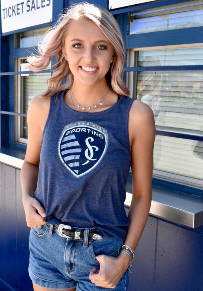 Sporting Kansas City Womens Navy Blue Weathered Official Logo Tank Top - Image 4