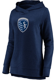 Sporting Kansas City Womens Synthetic Official Logo Hooded Sweatshirt - Navy Blue