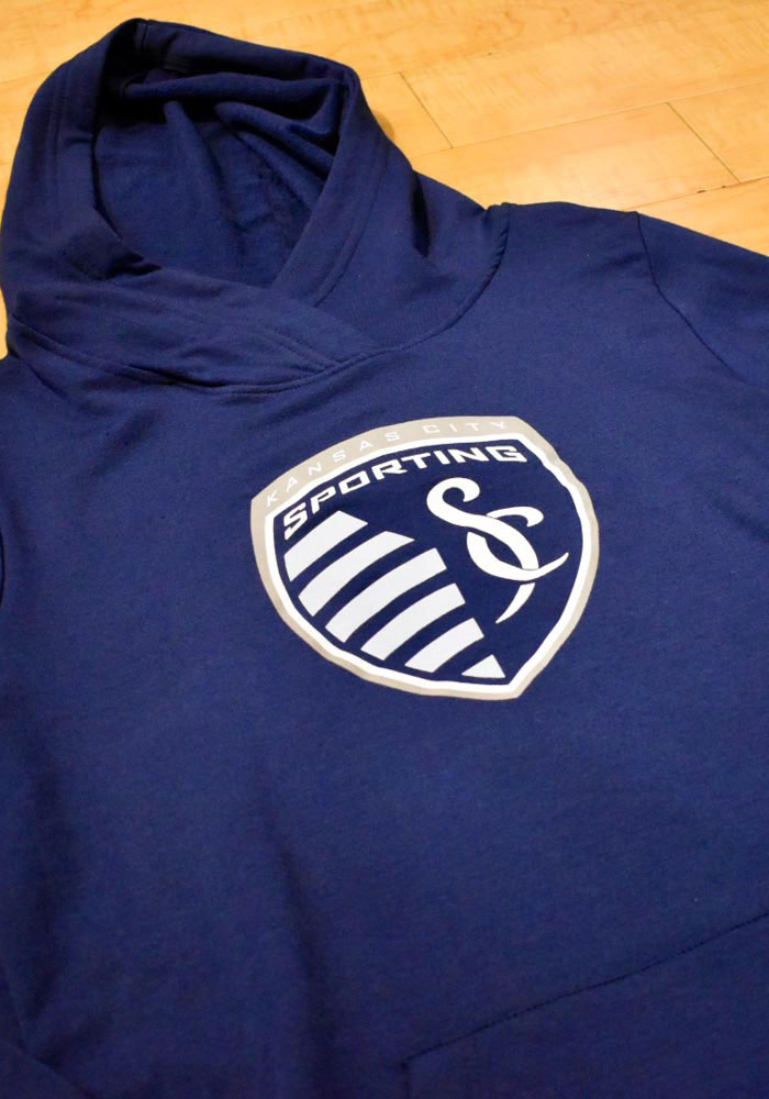 Sporting Kansas City Womens Navy Blue Synthetic Official Logo Hooded Sweatshirt - Image 3