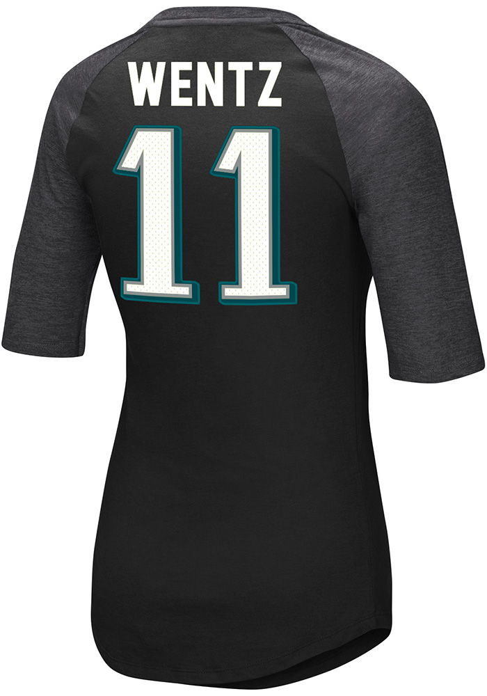 Carson Wentz Philadelphia Eagles Womens Black Fair Catch V Player T-Shirt - Image 1