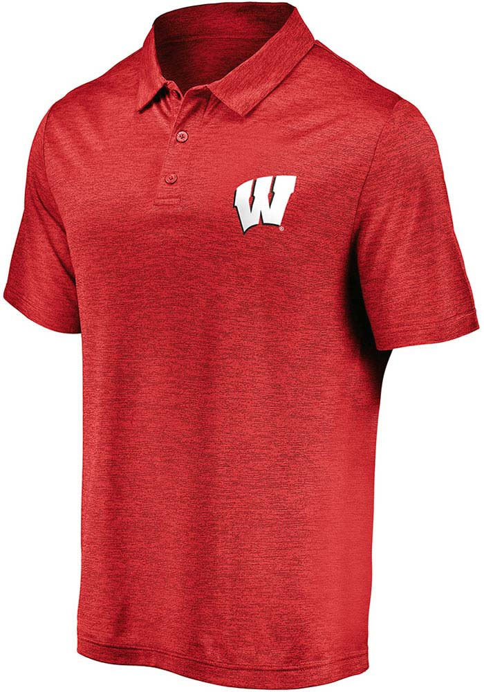 Wisconsin Badgers Mens Red Striated Short Sleeve Polo - Image 1