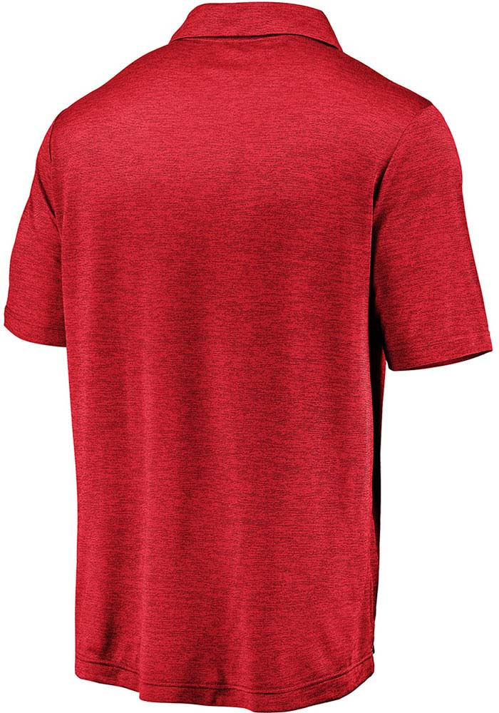 Wisconsin Badgers Mens Red Striated Short Sleeve Polo - Image 2