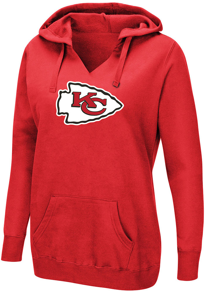 Patrick Mahomes VF Sports Kansas City Chiefs Womens Red Fair Catch Hooded Sweatshirt - Image 2