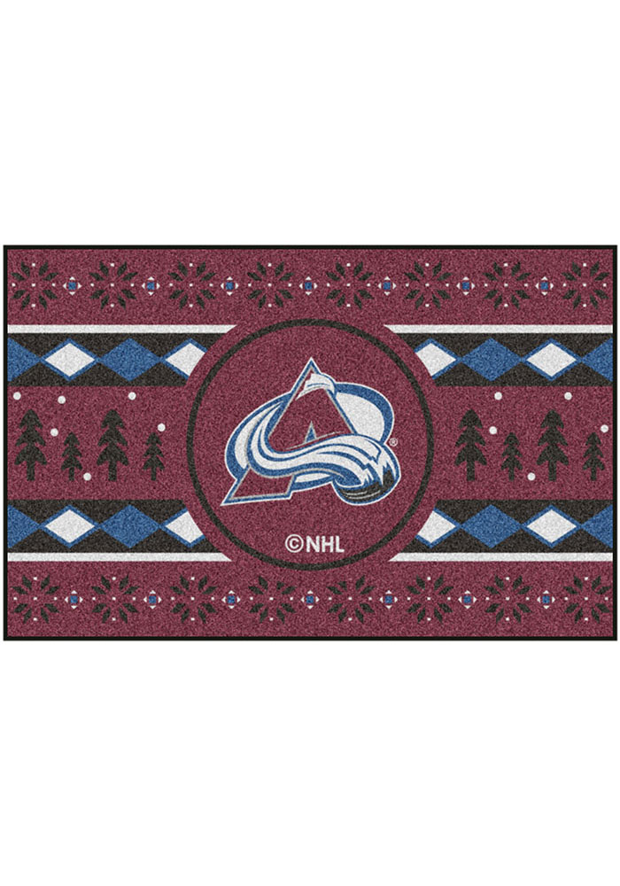 Colorado Avalanche 19x30 Holiday Sweater Starter Interior Rug - Image 2