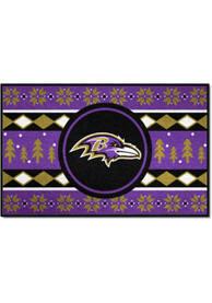 Baltimore Ravens 19x30 Holiday Sweater Starter Interior Rug