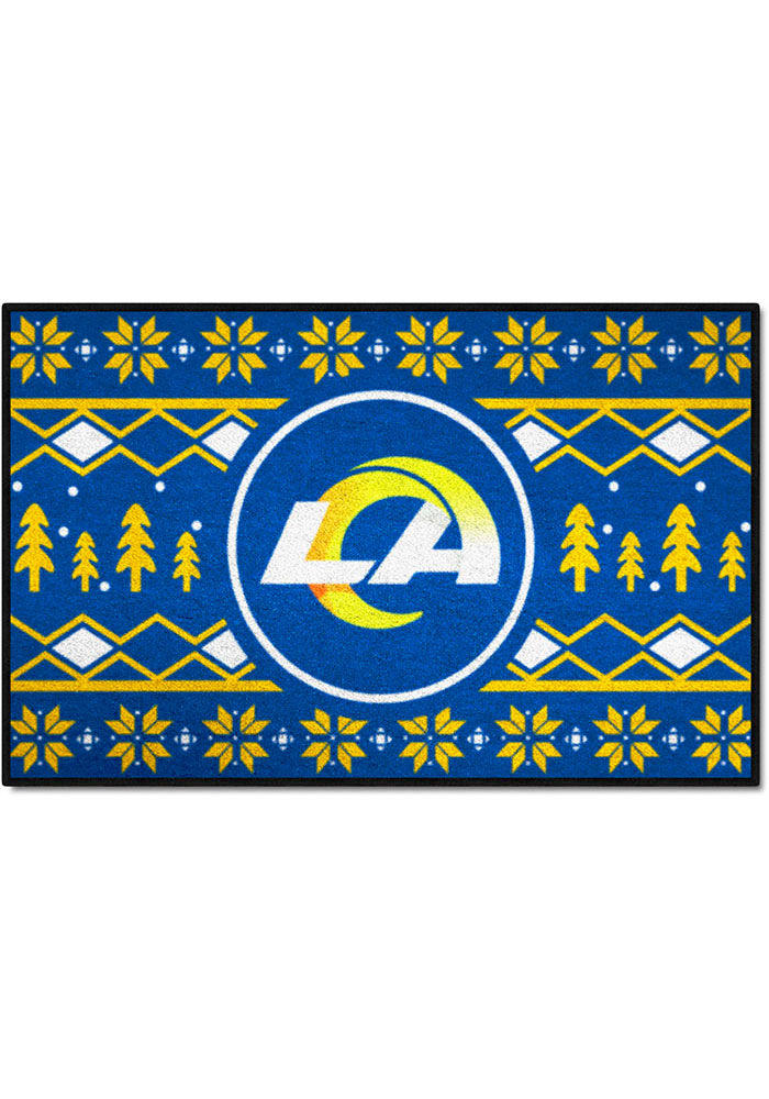Los Angeles Rams 19x30 Holiday Sweater Starter Interior Rug - Image 1