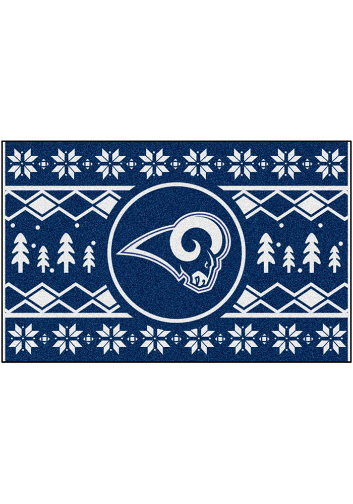 Los Angeles Rams 19x30 Holiday Sweater Starter Interior Rug - Image 2